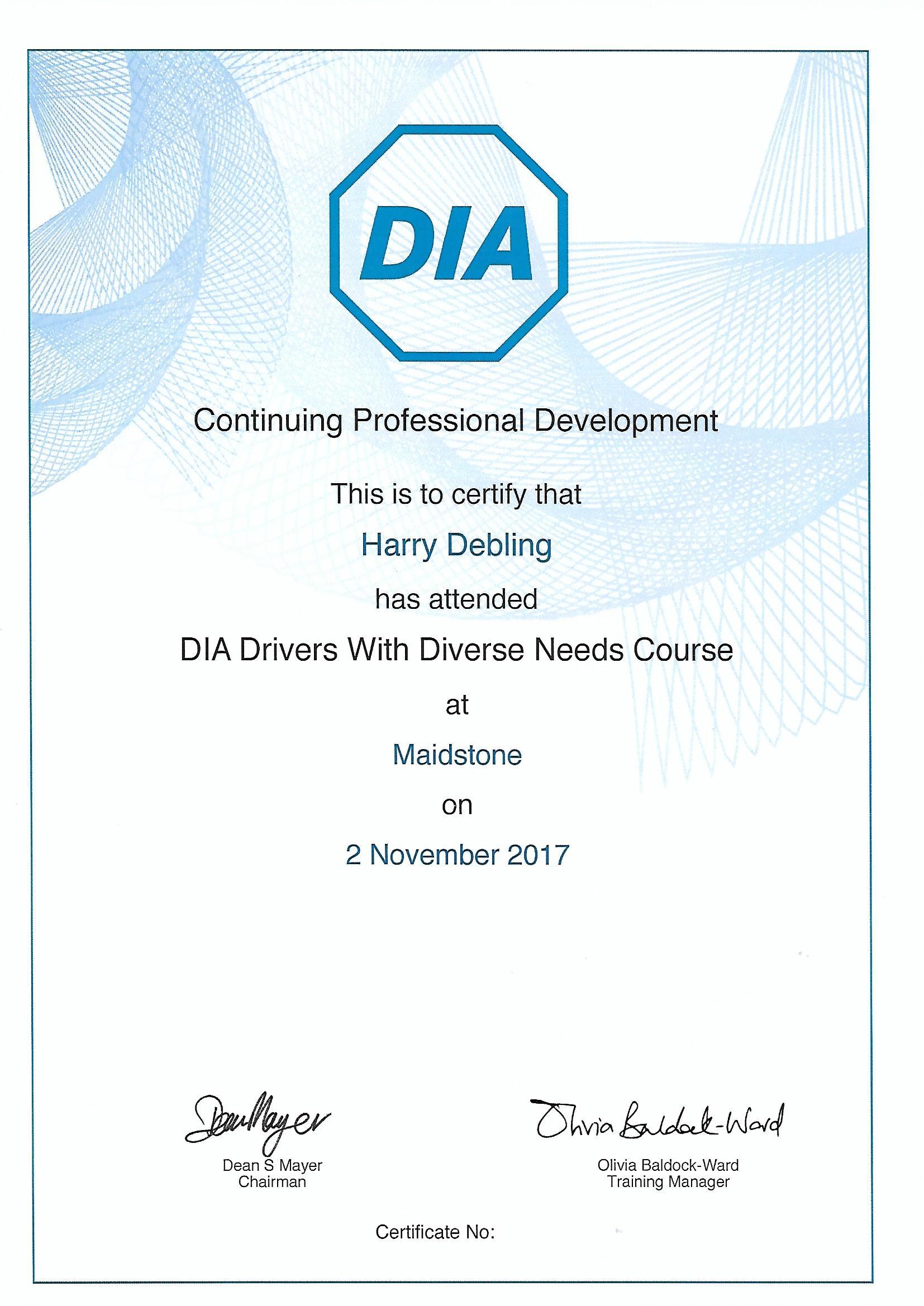 DIA Certificate